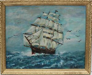 Vintage Oil painting on canvas seascapeSailing Ship in the High Sea Signed  $210.00