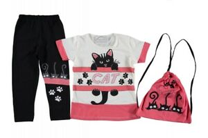 CUTE CLOTHING SET OF TUNIC LEGGINGS AND MATCHING BACKPACK FOR YOUNG GIRLS