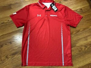 Wisconsin Badgers Under Armour Golf Polo Shirt Short Sleeve Red Men's Large NWT $18.99