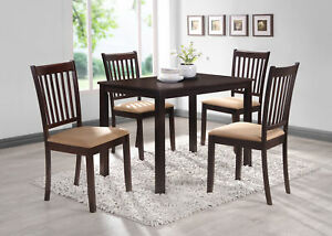 Kings Brand Cappuccino Finish Wood 5 Piece Dining Kitchen Set, Table