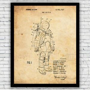 Astronaut Space Exploration Suit Patent Wall Art Print, Size and Frame Options