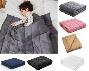 Weighted Kids Blanket 10 lbs 100% Natural Cotton Cool Galss Beads Heavy
