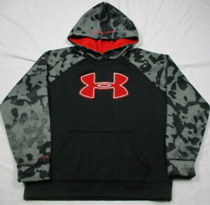 UNDER ARMOUR HOODIE SWEATSHIRT YLG Large STORM COLD GEAR YOUTH Black Red Camo $19.99