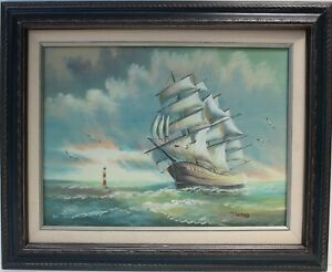 Original oil painting on canvas seascape Sailing ship on the high seasSigned $210.00