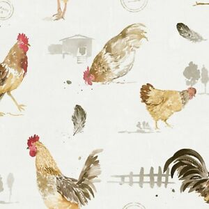 Chickens Wallpaper FK34433 country roosters red brown gold washable prepasted