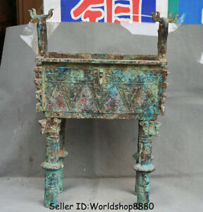 21.2 Collect Old Chinese Bronze Ware Dynasty Beast Handle Ding Incense Burner