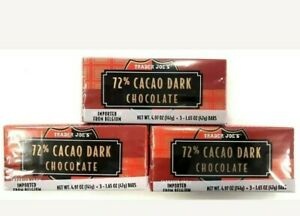 9 Trader Joe's 72% Cacao Dark Chocolate Candy Bars 1.65 OZ/Pack