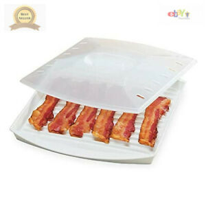 Microwavable Bacon Grill Microwave Cooker Tray Rack Pan + Cover Kitchen White