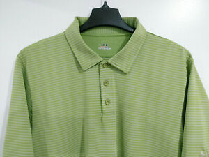 UNDER ARMOUR Heat Gear Men's XL Green Striped Short Sleeve Polo Shirt Golf $24.00