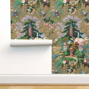 Removable Water Activated Wallpaper Chinoiserie Olive Asian Toile Palace Antique