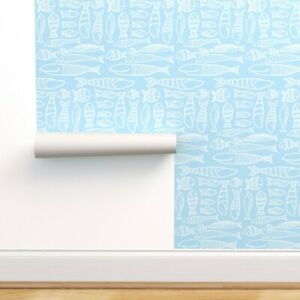 Removable Water-Activated Wallpaper Hand Drawn Fish Blue White Nursery Animals