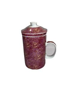 World Market Ceramic Tea Cup Mug with Lid and Infuser Pink Paisley