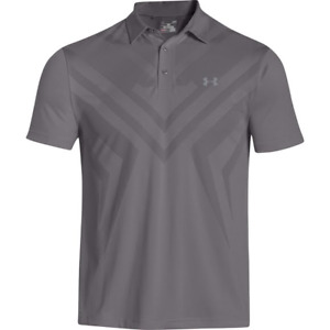 Men's Heat Gear Under Armour Vent Tips Polo Gray Thunderbird Grayhawk Golf LARGE $19.99