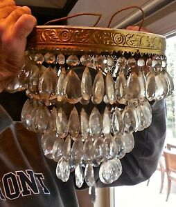 (2) BEAUTIFUL ANTIQUE CRYSTAL HALL CHANDELIERS FOR ONE MONEY • FINE! ESTATE!