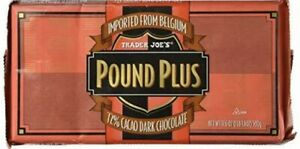 3 Bars - New TRADER JOE'S Pound Plus Belgium 72% Cacao Dark Chocolate Bars HUGE