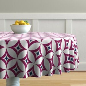 Round Tablecloth Kaleidoscope Plum Purple Navy Blue White Classic Cotton Sateen