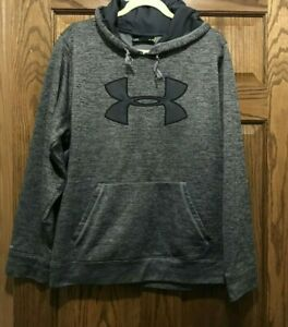 Womens Under Armour Hoodie Sweatshirt Size Large L Gray Cold Gear Pullover Top $27.45