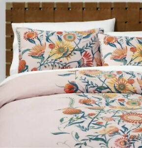 Opalhouse Placed Floral 3pc Full Queen Duvet Cover Set Pink Blush New