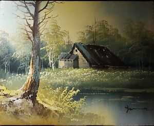 Forest House Lake PAINTING SIGNED BY ARTIST WITH WOOD WALL HANGING FRAME