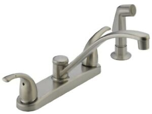Peerless Kitchen Faucet Two Handle with Side Sprayer in Stainless Steel 1A1 $49.99
