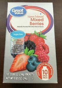 Great Value Electrolyte VITAMIN ENHANCED Mixed Berries Drink One Box 10 Packets