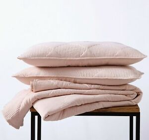 3pc Washed Microfiber Diamond Channel Quilt Bedspread Coverlet Set, Blush Pink