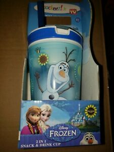 Snackeez Jr. Disney Frozen 2 in 1 Snack and Drink Cup, BLUE/ Olaf- EACH
