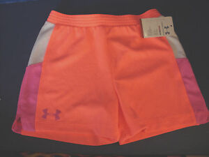 Under Armour Coral, Pink, White HEATGEAR SHORTS Girls Size 6 NWT $9.95
