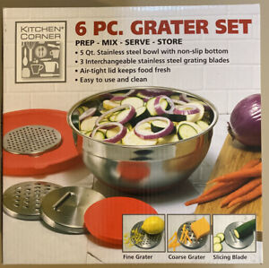 Kitchen Corner 6 piece Grater Set NIB 5 Qt SS Bowl Fine Course amp; Slicing Blades $8.15