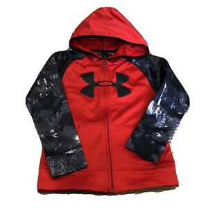 Boys' Under Armour Zip Up Hoodie Sweatshirt Sz 5 Red Big Logo Black Camo Sleeves $8.00