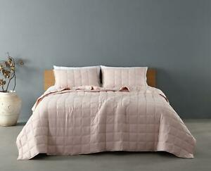 3pc Washed Decorative Square Embroidered Quilt Coverlet Bedspread Set Blush Pink