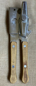 Vintage RARE Swing-A-Way Away Manual Can Bottle Opener Wood Handles Made In USA