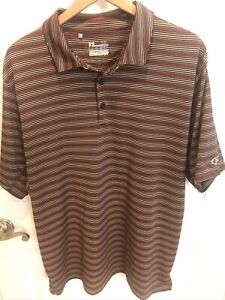 Mens Under Armour Loose Heatgear Red Stripe Performance Golf Polo Shirt XL $8.99