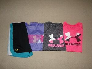 LOT GIRLS UNDER ARMOUR SHIRTS SHORTS SZ YXL XL $26.99