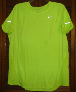 Nike Dri Fit Women's Neon GREEN SS Top T Shirt with Reflective Stripes, Size XL $9.99