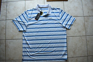New Under Armour Mens Performance Stripe Polo Shirt 2XL XXL Loose Golf Casual $49.99