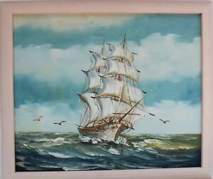 Original  vintage oil painting on canvas seascapeSailing ships on the Sea $230.00