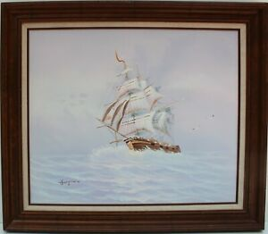 Vintage oil painting on canvas seascapeSailing ships on the SeaSigned Stephen $260.00