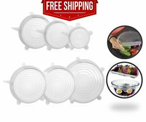 Clear Silicone Stretch Lids Cover Reusable Food Saving Lids for Bowls Mugs 6pcs
