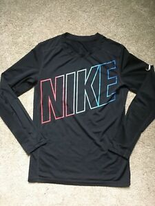 Girls Nike Dri Fit Size Large Long Sleeve Black Shirt Stylish EUC $10.99