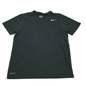 Nike Dry Fit Shirt Mens Size Large Athletic Cut Black Short Sleeve Dri FIT Gym $14.77