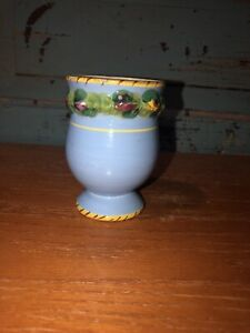 Vintage Made in Italy Blue Orange Italian Pottery Egg Cup Blue Orange Fruit $6.75