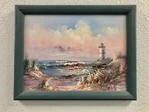 ORIGINAL Gorgeous Turquoise Pink Seascape with Lighthouse SIGNED M Farley FRAMED $32.25