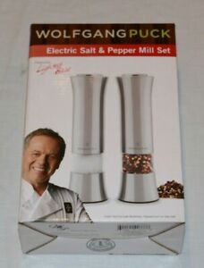 WOLFGANG PUCK ELECTRIC SALT & PEPPER MILL SET SPICE GRINDER NEW #SWC2MILLB