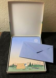 Snoopy amp; Woodstock vintage Stationery in box Camping used