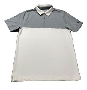 Under Armour Colorblock Golf Shirt Polo S, White, Gray, Polyester $19.97