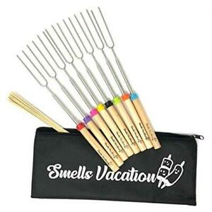 Marshmallow Roasting Sticks 32 Inch Extendable Stainless Steel Forks Wooden Hand
