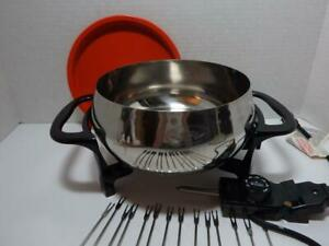 Rival Lg Fondue Pot Set Great Condition Lots of Forks Electric Stainless Steel
