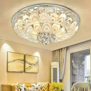 Modern Feather Crystal LED Ceiling Lamp Flush Mount Remote Control Chandelier