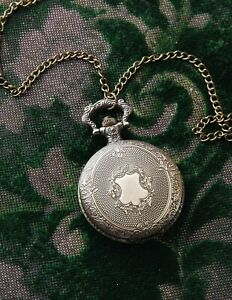 Victorian Trading Co NWOT Etched Floral Pocket Watch Necklace 28K $17.99